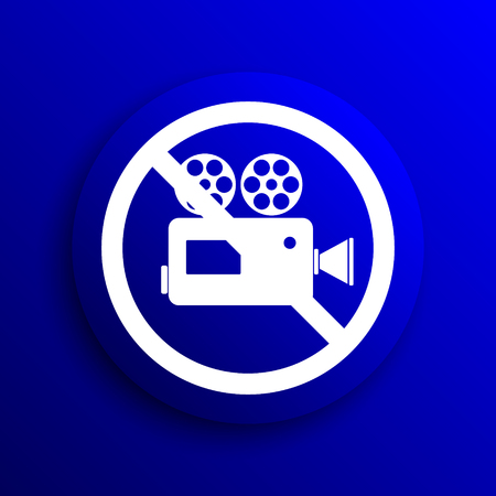 no cameras allowed: Forbidden video camera icon. Internet button on blue background.