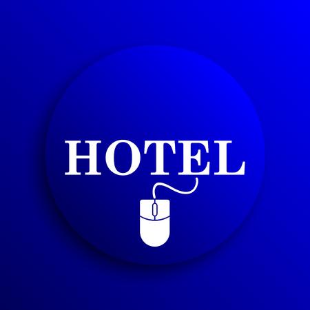 e ticket: Hotel icon. Internet button on blue background.