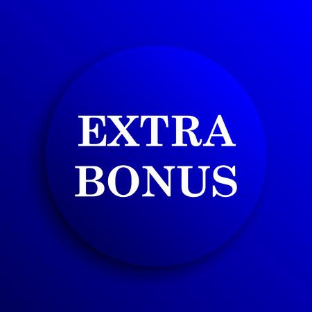 extra: Extra bonus icon. Internet button on blue background.