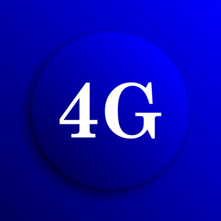communications tower: 4G icon. Internet button on blue background. Stock Photo