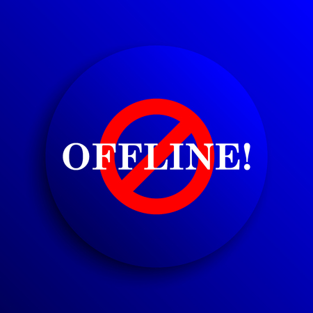 offline: Offline icon. Internet button on blue background.
