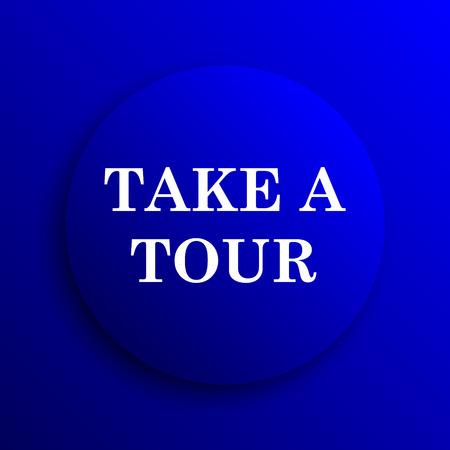 take: Take a tour icon. Internet button on blue background.
