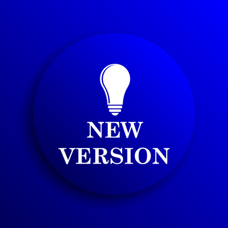 version: New version icon. Internet button on blue background.
