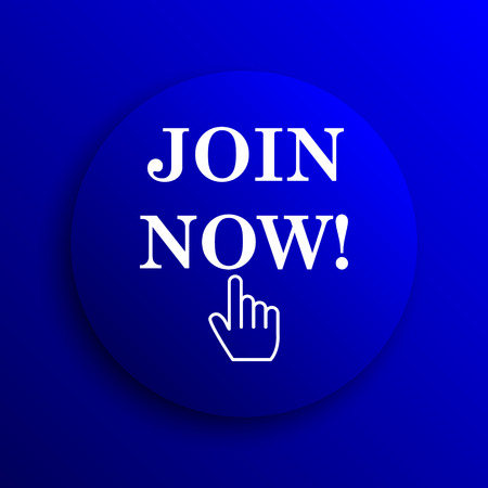 join: Join now icon. Internet button on blue background. Stock Photo