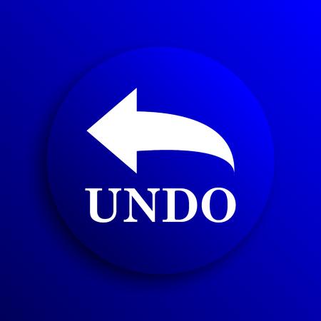 undo: Undo icon. Internet button on blue background.