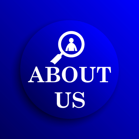 find us: About us icon. Internet button on blue background.
