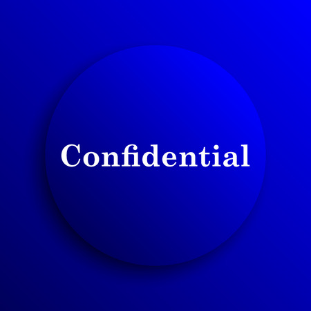 secrecy: Confidential icon. Internet button on blue background. Stock Photo
