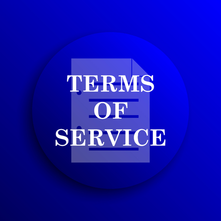 terms: Terms of service icon. Internet button on blue background.