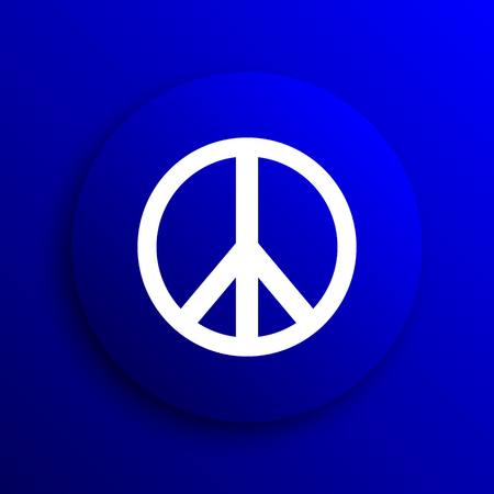pacifist: Peace icon. Internet button on blue background. Stock Photo