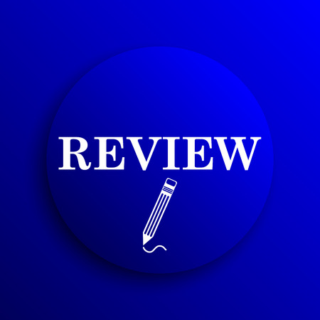 review icon: Review icon. Internet button on blue background.