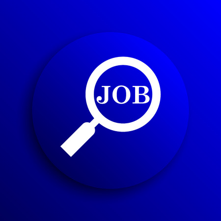 job vacancies: Search for job icon. Internet button on blue background. Stock Photo
