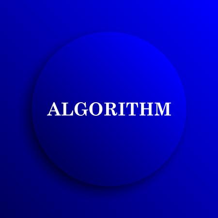 algorithm: Algorithm icon. Internet button on blue background.