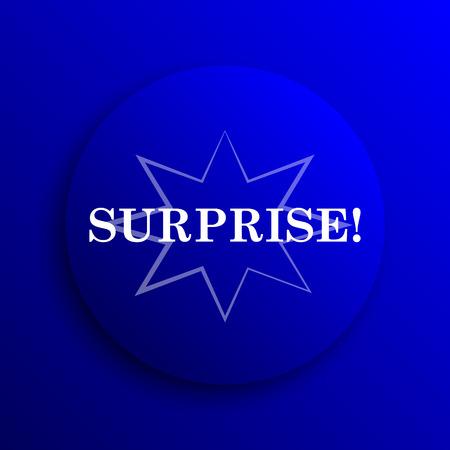 amazement: Surprise icon. Internet button on blue background.