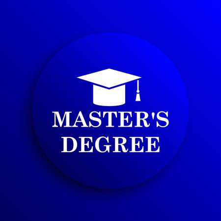masters: Masters degree icon. Internet button on blue background.