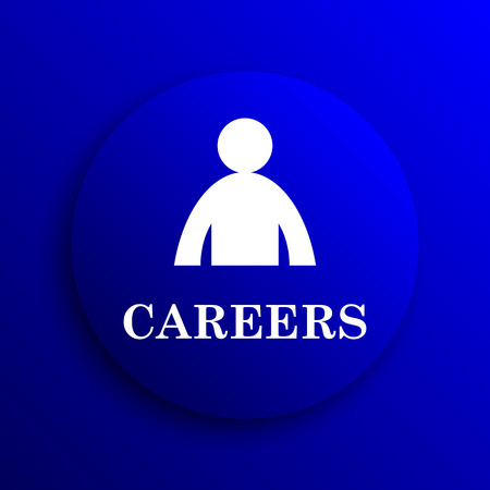 career entry: Careers icon. Internet button on blue background.