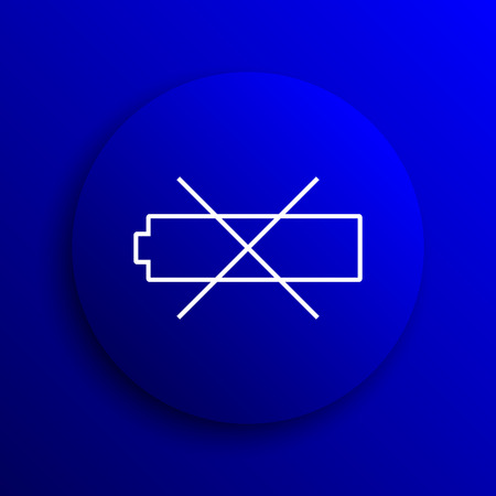 button batteries: Empty battery icon. Internet button on blue background.