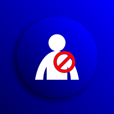 offline: User offline icon. Internet button on blue background. Stock Photo