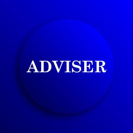 adviser: Adviser icon. Internet button on blue background.