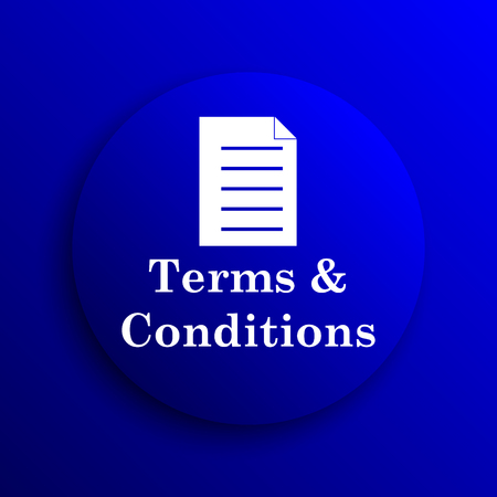 term and conditions: Terms and conditions icon. Internet button on blue background. Stock Photo