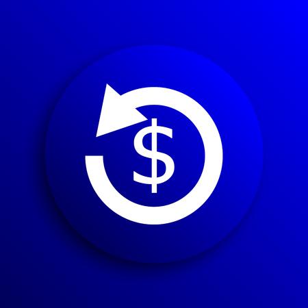 refund: Refund icon. Internet button on blue background.