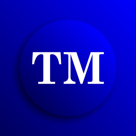 warrant: Trade mark icon. Internet button on blue background.