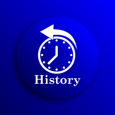 history icon: History icon. Internet button on blue background.