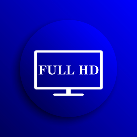 full hd: Full HD icon. Internet button on blue background.