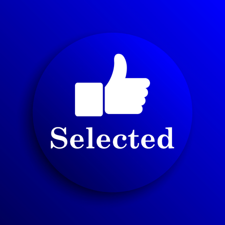 selected: Selected icon. Internet button on blue background. Stock Photo