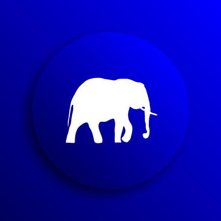 endanger: Elephant icon. Internet button on blue background.