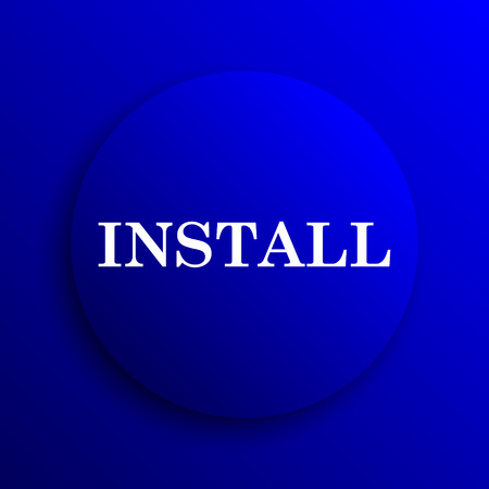 operative: Install icon. Internet button on blue background.