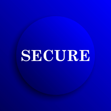 secure icon: Secure icon. Internet button on blue background. Stock Photo