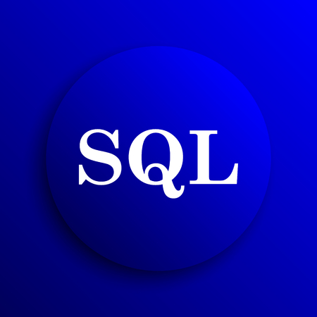 sql: SQL icon. Internet button on blue background.