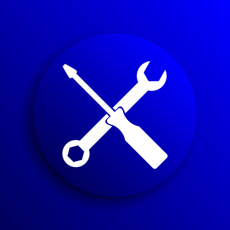 power wrench: Tools icon. Internet button on blue background.