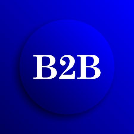 b2b: icono de B2B. botón de internet sobre fondo azul.