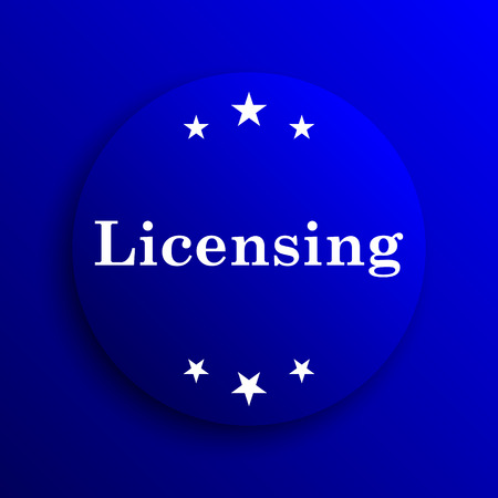 licensing: Licensing icon. Internet button on blue background. Stock Photo