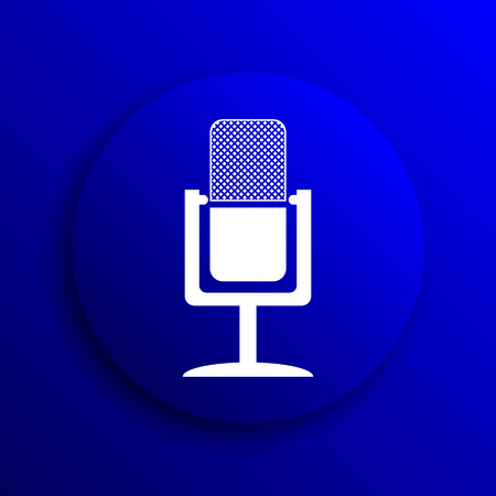 talk show: Microphone icon. Internet button on blue background.