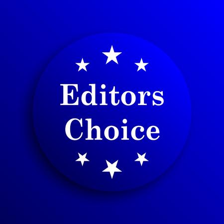 editors: Editors choice icon. Internet button on blue background.