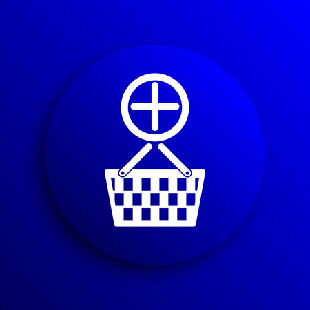e pay: Add to basket icon. Internet button on blue background. Stock Photo