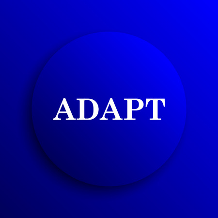 adapting: Adapt icon. Internet button on blue background.