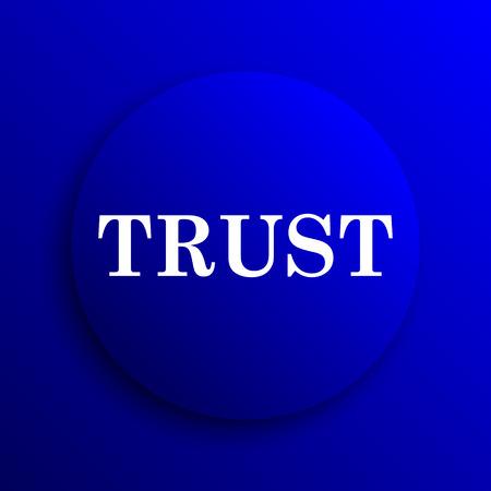 trust icon: Trust icon. Internet button on blue background. Stock Photo