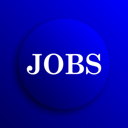 job offers: Jobs icon. Internet button on blue background.