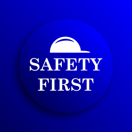 cautionary: Safety first icon. Internet button on blue background.