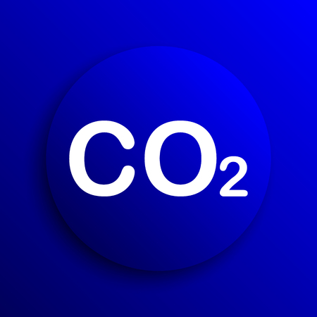 co2: CO2 icon. Internet button on blue background.