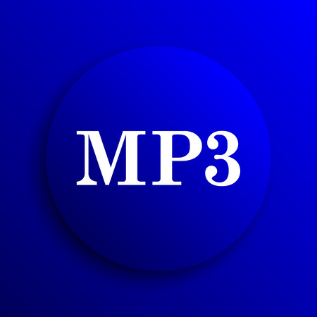 mp3: MP3 icon. Internet button on blue background. Stock Photo