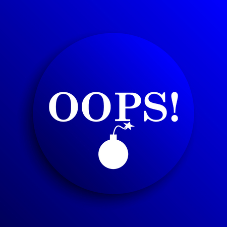 oops: Oops icon. Internet button on blue background. Stock Photo