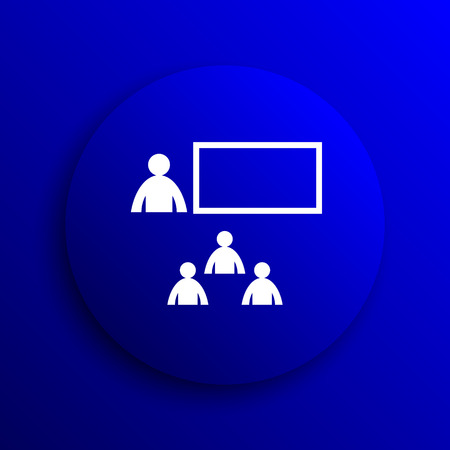 stage coach: Presenting icon. Internet button on blue background.