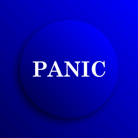 panic: Panic icon. Internet button on blue background.
