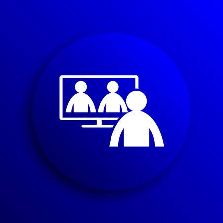 metier: Video conference, online meeting icon. Internet button on blue background. Stock Photo