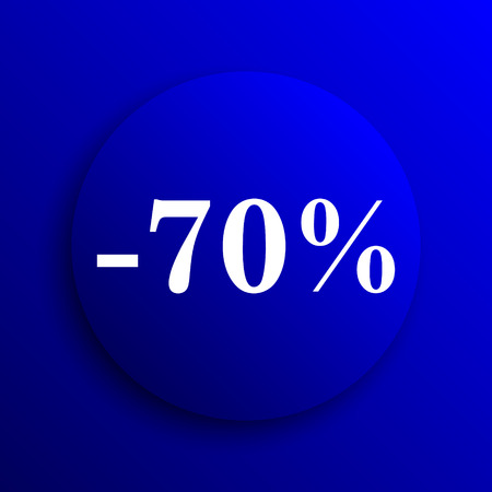 70: 70 percent discount icon. Internet button on blue background.