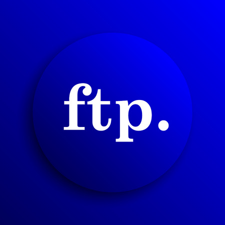 ftp: ftp. icon. Internet button on blue background.